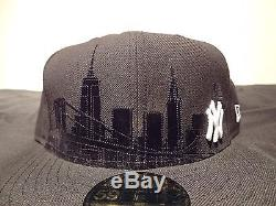 RARE New Era New York Yankees Fitted Hat SUEDE SKYLINE Size 7 3/8 snapback cap