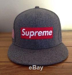 Rare! Og Supreme New Era Wool Hat Fitted 7 3/4 World Famous American Flag Grey