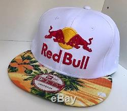 Red Bull Athlete Only Hat New Era Floral Print Very Rare White #1