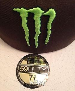 Rare New Era Monster Energy Fitted Hat Size 7 3/8 Athlete Only