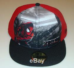 Spiderman New Era Cap Hat Fitted 7 5/8 Panel Tone Out Logo DC Comics 59Fifty