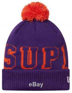 Supreme FW15 New Era Banner Beanie Purple Small Box Logo POM Hat Red Ribbed Cap
