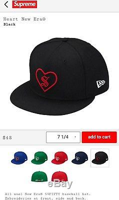 Supreme Fw17 X New Era Heart Fitted Cap Hat Black Size 8 8.0 Rare Sold Out