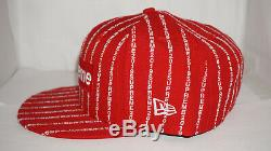 Supreme New Era 59 Fifty Fitted 7 5/8 Red Text Stripe Box Logo Hat SS19 On Hand