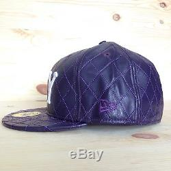 Supreme Quilted Leather Purple New Era Purple Fitted Hat F/w 2006 Box Logo 7 5/8