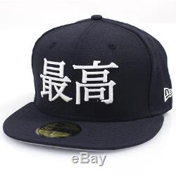 Supreme x New Era KANJI FITTED HAT NAVY 7 3/8 NEW witho tags CAP